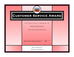 customer service award template customer service award certificate templates