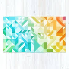 green and blue rug colorful geometric pattern saturated rainbow pattern design red pink orange yellow green