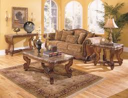 Old World Living Room Design Tarantula Brown Cherry Wood Marble Coffee Table Set Coffee Table