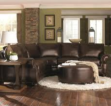 Living Room Brown Sofa Chocolate Brown Leather Sectional W Round Ottoman Home Decor