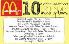 Weight Watchers Chart Of Food Points 10 Weight Watchers Friendly Mcdonalds Fast Food Items 7