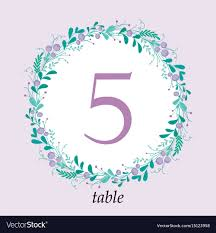 Table Number Design Cute Wedding Table Number Card Template With Hand