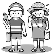 熱中症を予防するこどものイラストモノクロ 子供と動物のイラスト
