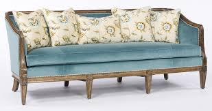 sofa couch loveseat teal fabric wood frame sofa