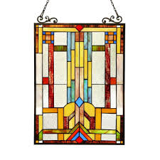 stained glass tiffany style window panel mission arts crafts