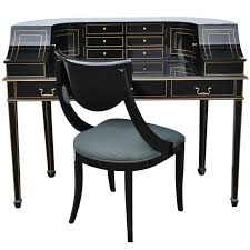 maitland smith black lacquer gold regency carlton house style desk and chair for