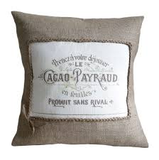 indian antique french cushions. Vintage French Cacao Advert Burlap Pillow Cover Indian Antique Cushions E