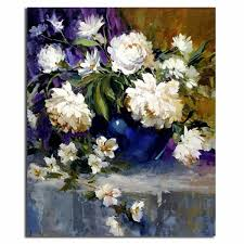 beautiful handmade modern decorative wall art white flowers oil painting on canvas
