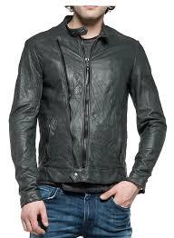 biker style zip detail pockets leather jacket dark grey