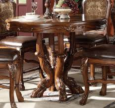 acme dresden round pedestal counter height dining table in brown cherry oak 12160 main image
