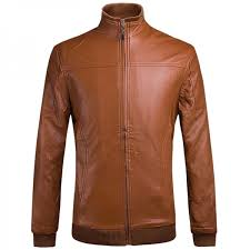 winter fashion slim simple warm quilted stand collar long sleeve pu leather men s coat jacket chocolate