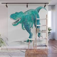 t rex dinosaur wall mural by raewyn