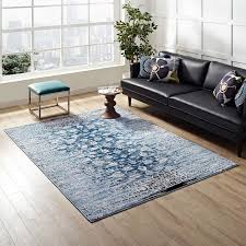 8x10 area rugs. Chiara Distressed Floral Lattice Contemporary 8x10 Area Rug In Moroccan Blue - Lifestyle Rugs