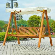 outsunny 3 seater wooden wood garden swing chair seat hammock bench furniture lounger bed new cream flubit