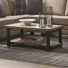 Scott Living Rustic Brown Pine Wood Rectangular Coffee Table