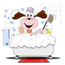 a cartoon dog having a bubble bath in the bathtub royalty free clipart
