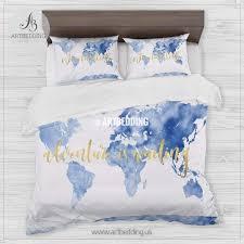 sky blue adventure watercolor world map bedding bohemian wander best of comforter