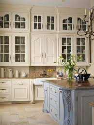 Marvelous Kitchen Island Design Symmetrical White Cream Wooden French  Country Kitchen Cabinets Also Folding Drawers Below Light Brown Furnished  Wooden ...