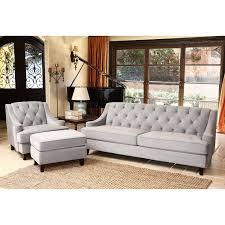 Tufted Living Room Set Abbyson Living Claridge Velvet Fabric 3 Piece Steel Blue Sofa