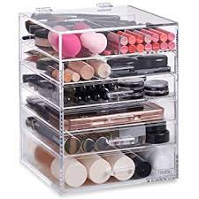 beautify large 6 tier clear acrylic cosmetic makeup cube organizer with 5 drawers upper partment