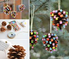 Pom Poms and Pinecones Christmas Ornaments | 25+ easy DIY Christmas decor