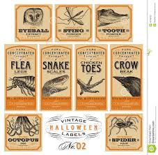 Funny Vintage Halloween Apothecary Labels Set 02 Vector Stock