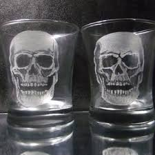 glass skull tumbler set of 2 hand engraved glassware set y skull glass set