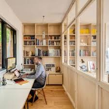 small home office space. Inspiration For A Small Scandinavian Built-in Desk Medium Tone Wood Floor Home Studio Remodel Office Space
