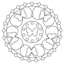 Simpele Vlinder Mandala Kleurplaten Stockvector Ingasmk 113330214