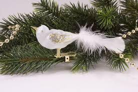 Kleiner Vogel Eisweiß Transparent Gold Mit Weißer Feder Christbaumschmuck