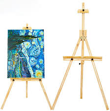 Painting Display Stands 100cm Wood Yellow Pine Adjustable Artist Painting Easel for 40