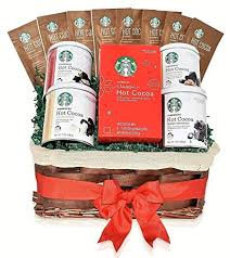 starbucks hot cocoa mixed occasional gift basket 5 flavors double chocolate peppermint
