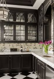 Stunning butler's pantry, black cabinetry, glass fronts, chinoiserie  wallpaper - Terrat Elms Interior