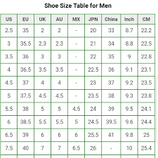Singapore Size Chart Luxury Men Shoes Size Chart Mens Fashion Footwear On