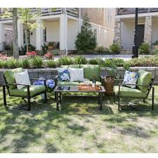 leisure made jasper 4 piece aluminum patio conversation set with green cushions