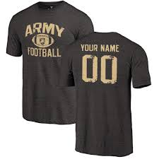 Tri-blend Knights Personalized Football Army Men's T-shirt Distressed Black