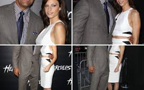 lauren hashian poses with dwayne johnson at hercules premiere see the pics