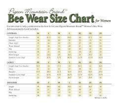 Size Charts Bee Wear Shop