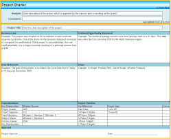 Project Management Charter Template Six Sigma Project Charter