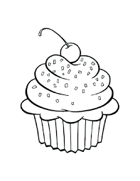 Printable Cupcake Coloring Pages Color Cup Cake Page Outline