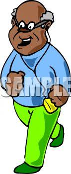 listening to music clipart. old black man running while listening to music - royalty free clip art image clipart