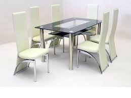 Black Glass Dining Table And 6 Faux Chairs In Cream Room Cream