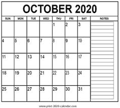 October 2020 Calendar Print 2020 Calendar