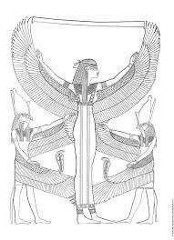 Een Leuke Kleurplaat Van Drie Egyptische Goden Druk Op De