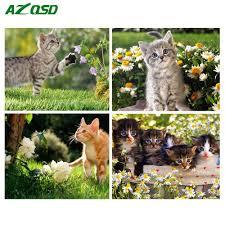<b>AZQSD Diamond</b> Embroidery Cat Picture of Rhinestone 5D DIY Full ...