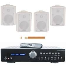 office speaker system. homeoffice music system with 4 wall speakers office speaker
