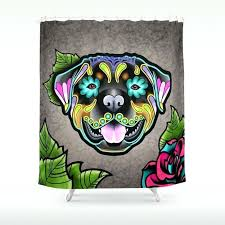 dog shower curtain rottweiler day of the dead sugar skull dog shower curtain sausage dog shower
