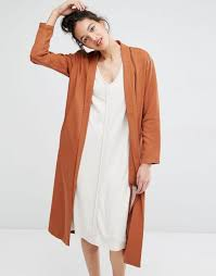 selected liga longline duster jacket rustic brown women jackets selected er jacket with leather sleeves factory