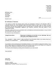 Sample Dismissal Letter Letter Of Dismissal Magdalene Project Org