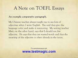 welcome to english composition today s class reading review  a note on toefl essays an example comparative paragraph